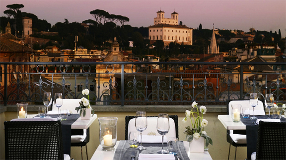 The-First-Luxury-Art-Hotel-Rome-Italy-Dining-Restaurant-View