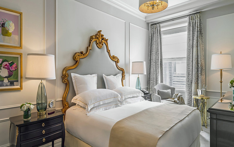 The bedroom in the Legacy Suite at The Plaza Hotel New York, USA