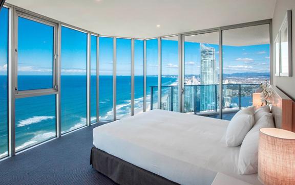 Bedroom, luxury suite, Hilton Gold Coast