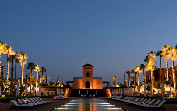 The pool area at sunset at the luxurious accommodation, Selman in Marrakech, Morroco.