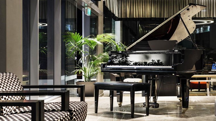 The grand piano in the lobby of Fraser Suites, Perth