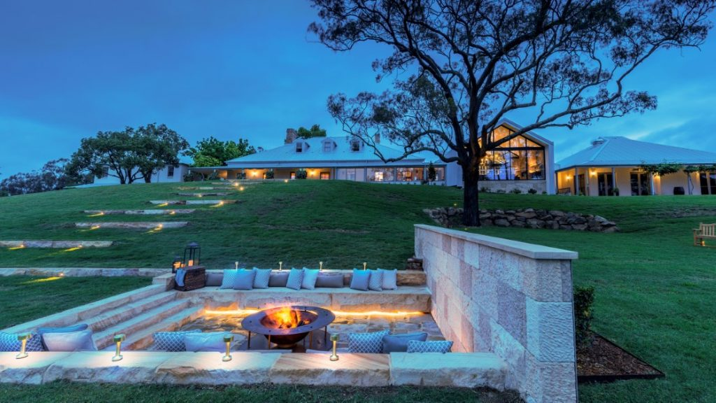 The fire pit at Spicers Guest House in The Hunter Valley