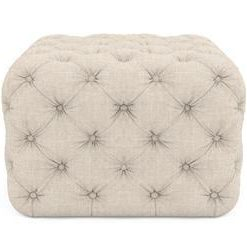 Lena Small Square Ottoman - French Beige