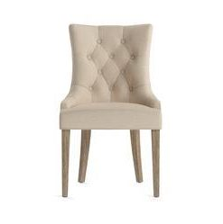 Espen® Scoop Back Dining Chair - French Beige and Wire Brushed Wax Legs