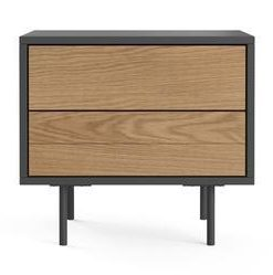 Prato Bedside Table - Dark Grey and Toffee
