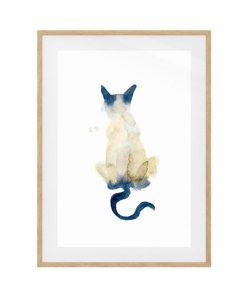 The Porcelain Cat Print Natural Wood Frame Small
