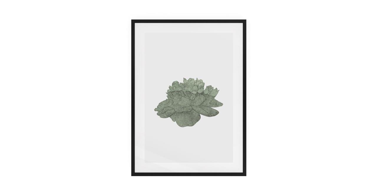 The Flowering Print Black Wood Frame Small Green