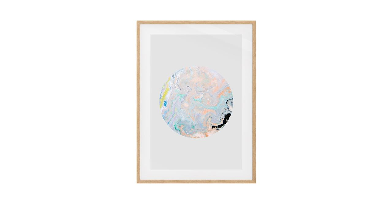 The Marble Print Natural Wood Frame Medium Lavender