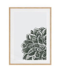 The Monochrome Print Natural Wood Frame Small Peony