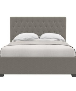 Emily Gas Lift Queen Size Bed Frame Stone Grey Stone Grey