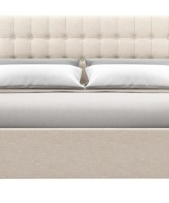 Leia Gas Lift King Size Bed Frame French Beige French Beige