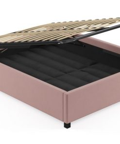 Queen Size Upholstered Gas Lift Bed Frame Base Rose Tan