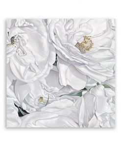 White Flowers Square Canvas Art