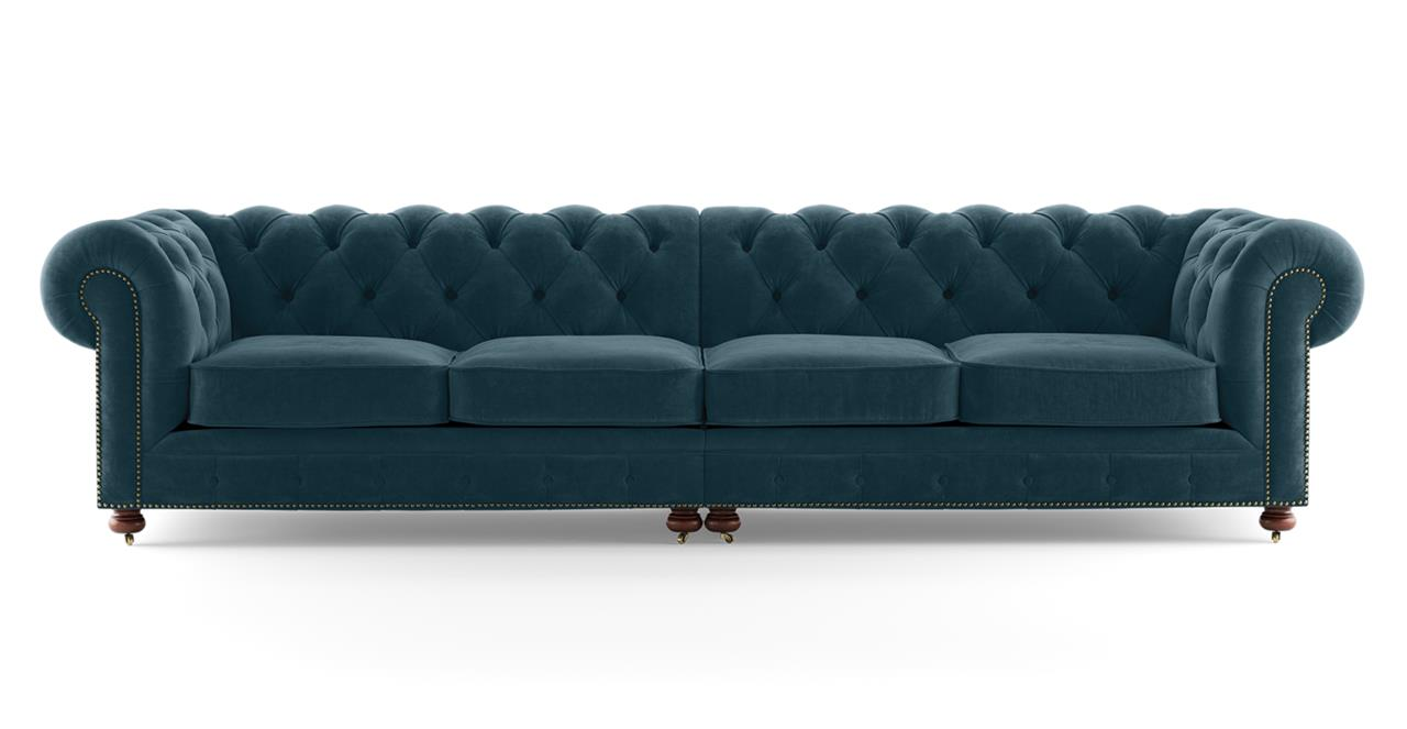 Notting Hill Velvet Chesterfield 4.5 Seater Sectional Sofa Peacock Teal Peacock Teal