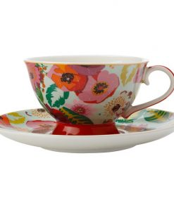 Teas & C's Glastonbury Poppy Footed Cup & Saucer