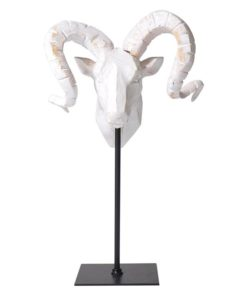 Tribal Goat Head on Stand (Set of 2)