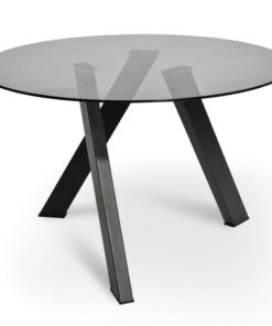 Isaac 1.2m Dining Table - Smoke Grey Glass - Black Base by Interior Secrets - Pay with zipMoney