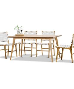 Bruno 5-Piece Lazie Woven Leather Dining Set
