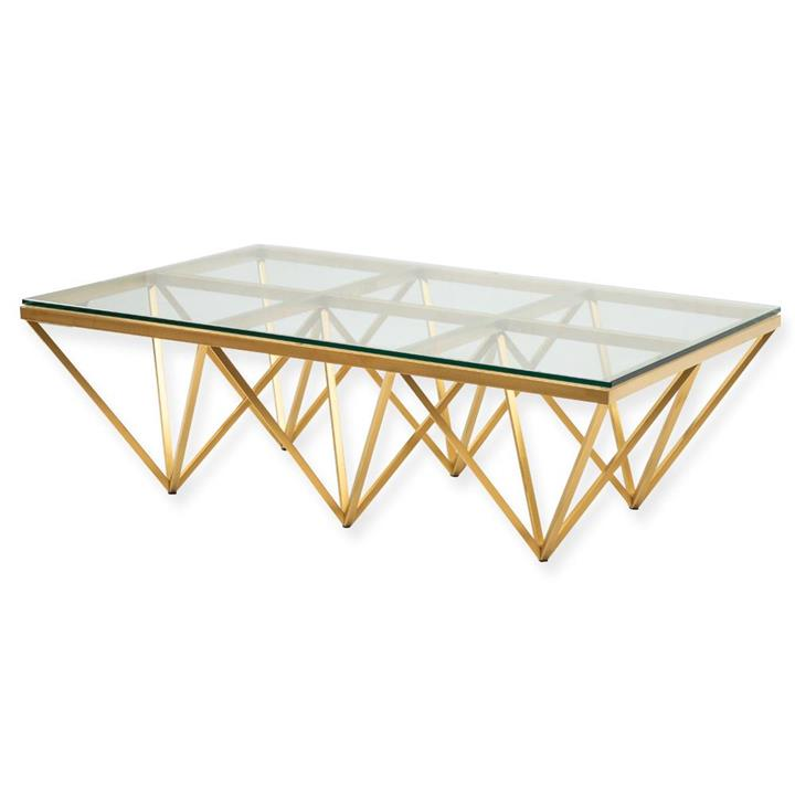 Tafari 1.2m Coffee Table - Glass Top - Brushed Gold Base by Interior Secrets - Pay with zipMoney