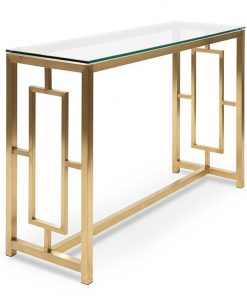 Kater Glass Console table - Brushed Gold Base by Interior Secrets - Pay with zipMoney