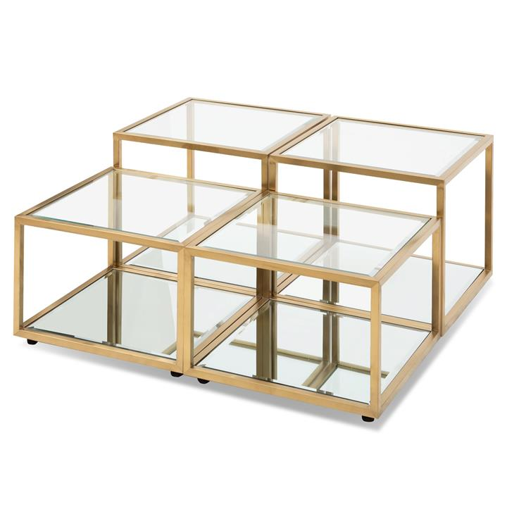 Set of 4 - Oxford Glass Coffee Table - Brushed Gold Base by Interior Secrets - Pay with zipMoney