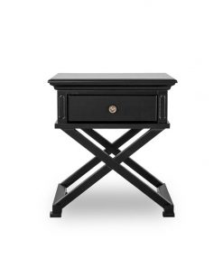 Satarra Cross Legs Black Timber Bedside Table by Interior Secrets - AfterPay Available