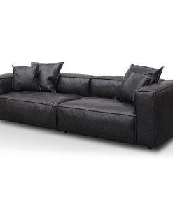 Loft 3 Seater Sofa with Cushion and Pillow - Charcoal Leather by Interior Secrets - AfterPay Available