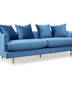 Andre 3 Seater Sofa - Navy Blue with Brushed Gold Legs by Interior Secrets - AfterPay Available