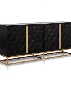 Mildred 1.78m Sideboard - Black ELM Wood with Gold Handle by Interior Secrets - AfterPay Available