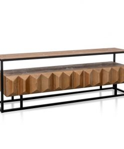 Nadine 1.8m Entertainment TV Unit - Natural with Black Frame by Interior Secrets - AfterPay Available