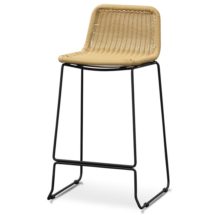 Morton 68cm Natural Rattan Seat Bar Stool - Black Legs by Interior Secrets - AfterPay Available