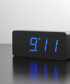 Wooden LED Alarm Clock | Large Black 21cm - digital temperature table red blue