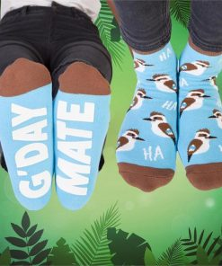 """G`day Mate"" Kookaburra Print Hidden Message Socks"