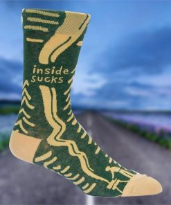 `Inside Sucks` Man BBQing Outdoors Mens Comfy Crew Socks | BlueQ
