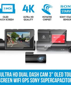 "Elinz 4K Ultra HD Dual Dash Cam 3"" OLED Touch Screen WiFi Reverse Camera GPS Sony Supercapacitor"