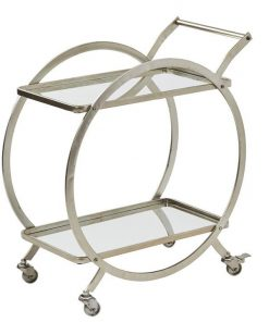 `Walter` Gold Art Deco Mirrored Drinks Trolley Cart