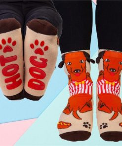Hot Dog Dachshund Socks With Secret Message on the Soles!