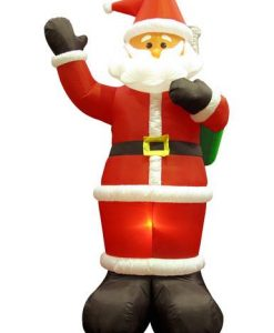 Giant Santa Holding Christmas Sack Illuminated Inflatable - 3m