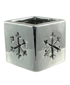 Shiny Winter Ceramic Snowflake Tea Light Holder - 80mm