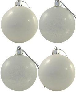 White & Frosted Baubles - 6 x 60mm