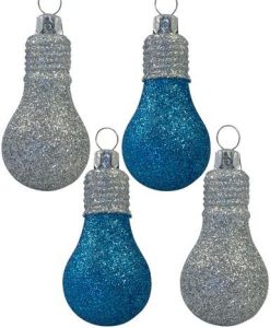 Glittered Turquoise & Silver Light Bulb Baubles - 4 x 70mm