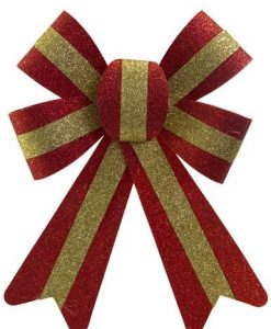 Red With Gold Stripe PVC Bow Decoration - 24cm