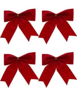 Red Velvet Bow Decoration - 8 x 80mm