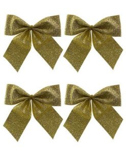 Small Gold Bow Decoration - 6 x 80mm