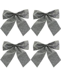 Small Silver Bow Decoration - 6 x 80mm