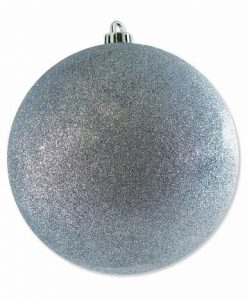 Large Glittered Silver Bauble Decoration - 20cm