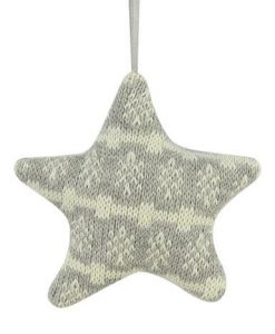 Grey Fabric Star With Snowflake Pattern Hanging Ornament - 11cm