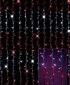 Synchronised Red & White LED Curtain Light Display - 3.2m