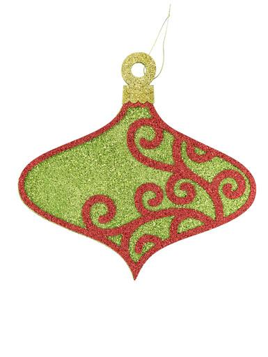 Green & Red Filligree Onion Hanging Ornament - 31cm