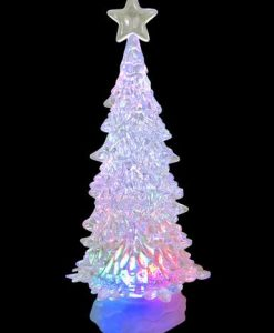 Large Clear LED Illuminated Tree Snowing Snow Globe Ornament - 30cm